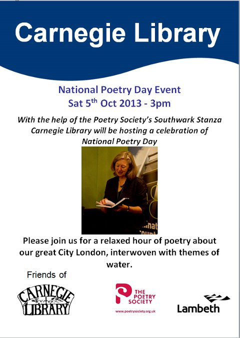 National Poetry Day Event - Carnegie Library - 5th October 2013